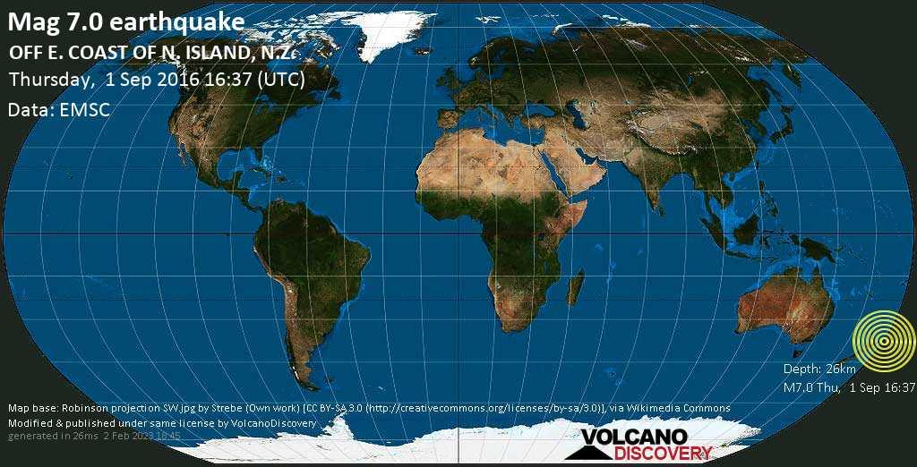 Major mag. 7.0 earthquake  - OFF E. COAST OF N. ISLAND, N.Z. on Thursday, 1 September 2016