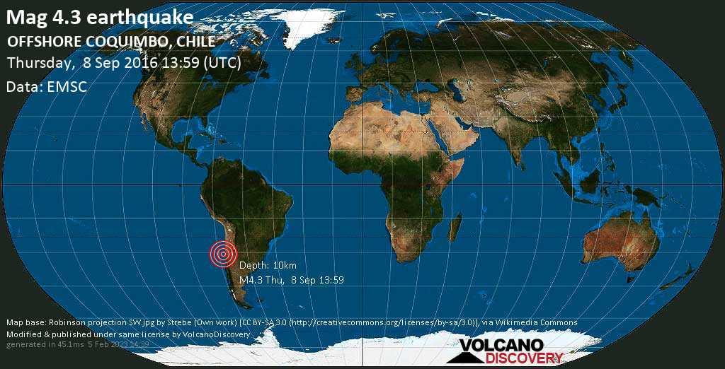 Mag. 4.3 earthquake  - South Pacific Ocean, 367 km northwest of Santiago, Santiago Metropolitan, Chile, on Thursday, 8 September 2016 at 13:59 (GMT)