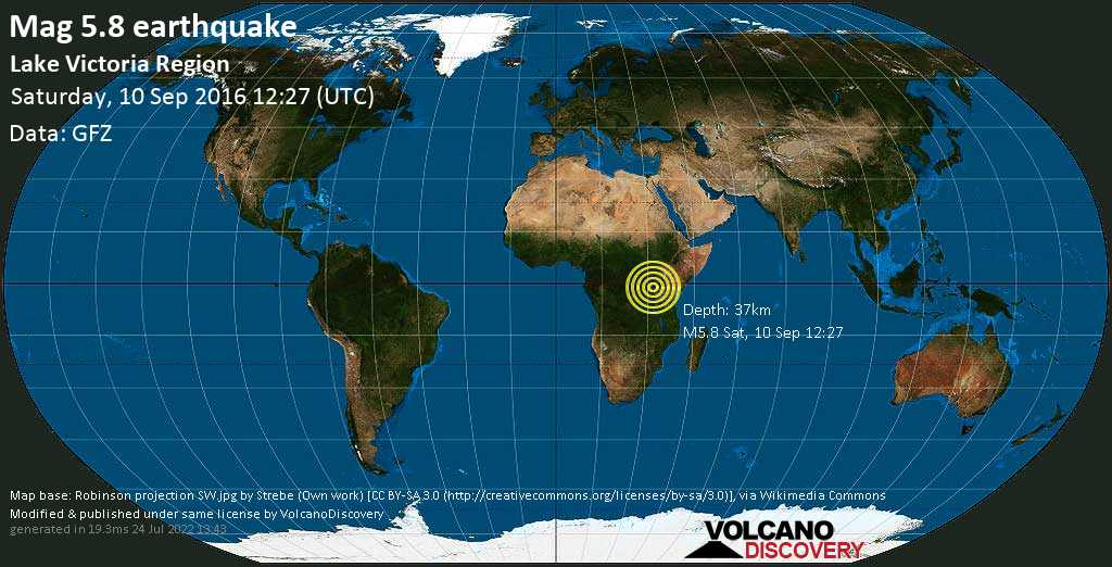 Strong mag. 5.8 earthquake - 21 km northeast of Nsunga, Missenyi District Council, Kagera, Tanzania, on Saturday, 10 September 2016 at 12:27 (GMT)