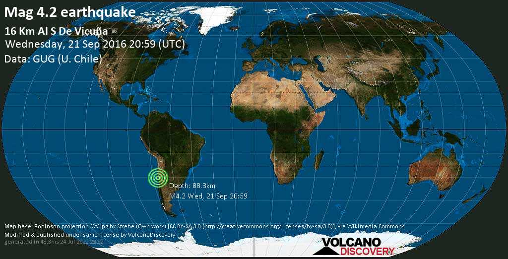 Mag. 4.2 earthquake  - Elqui, 16 km south of Vicuña, Provincia de Elqui, Coquimbo Region, Chile, on Wednesday, 21 September 2016 at 20:59 (GMT)