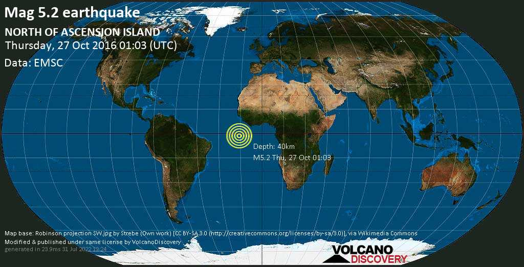 Moderate mag. 5.2 earthquake - South Atlantic Ocean on Thursday, 27 October 2016 at 01:03 (GMT)