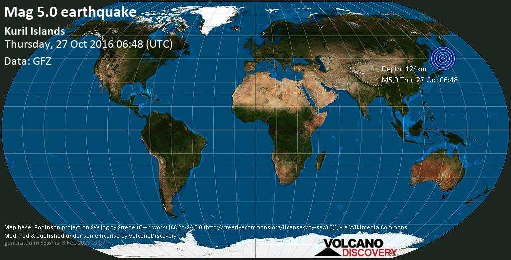 Moderate mag. 5.0 earthquake - 258 km east of Kitami, Ktiami Shi, Hokkaido, Japan, on Thursday, 27 October 2016 at 06:48 (GMT)