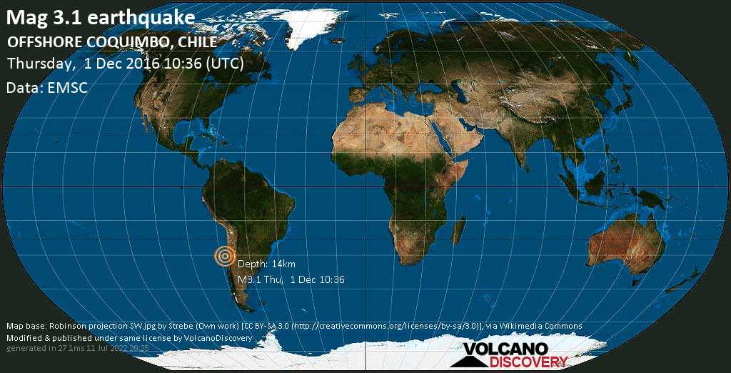 Mag. 3.1 earthquake  - South Pacific Ocean, 80 km southwest of Coquimbo, Provincia de Elqui, Coquimbo Region, Chile, on Thursday, 1 December 2016 at 10:36 (GMT)