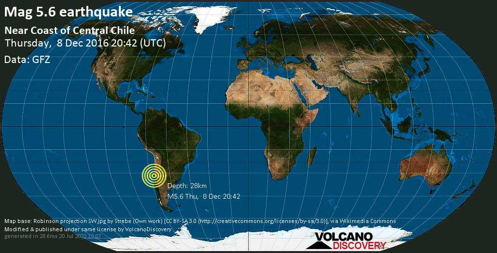 Moderate mag. 5.6 earthquake  - South Pacific Ocean, 49 km west of Illapel, Provincia de Choapa, Coquimbo Region, Chile, on Thursday, 8 December 2016 at 20:42 (GMT)
