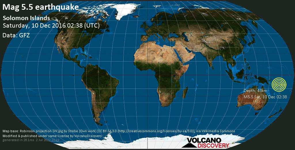 Moderate mag. 5.5 earthquake  - Solomon Islands on Saturday, 10 December 2016 at 02:38 (GMT)