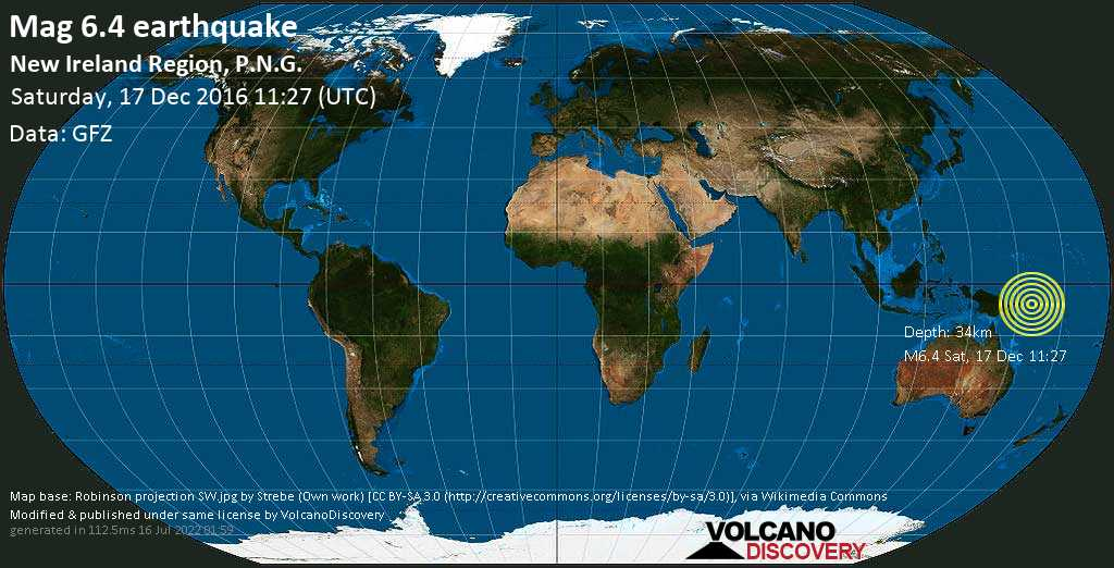 Strong mag. 6.4 earthquake  - Solomon Sea, 849 km northeast of Port Moresby, National Capital, Papua New Guinea, on Saturday, 17 December 2016 at 11:27 (GMT)