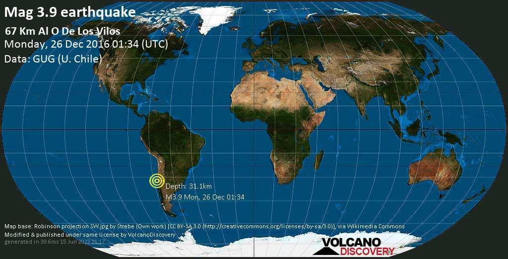 Mag. 3.9 earthquake  - South Pacific Ocean, 205 km northwest of Santiago, Santiago Metropolitan, Chile, on Monday, 26 December 2016 at 01:34 (GMT)
