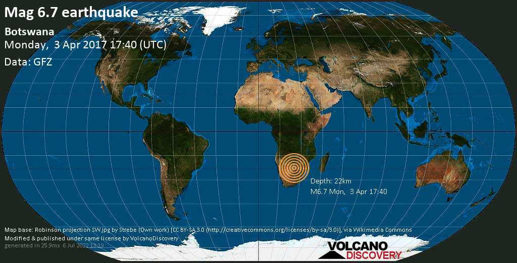 Very strong mag. 6.7 earthquake - Ghanzi, 233 km north of Gaborone, Botswana, on Monday, 3 April 2017 at 17:40 (GMT)