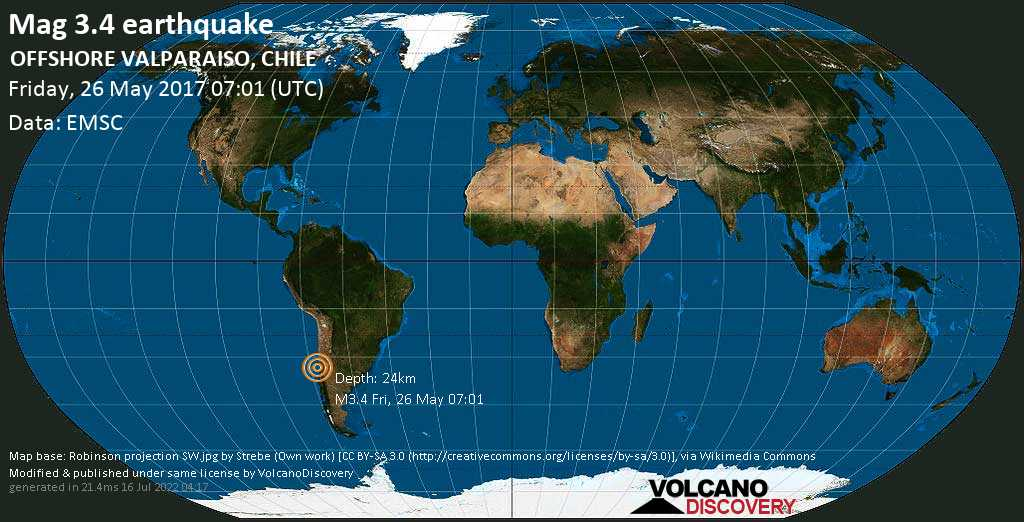 Mag. 3.4 earthquake  - South Pacific Ocean, 27 km west of Valparaiso, Chile, on Friday, 26 May 2017 at 07:01 (GMT)