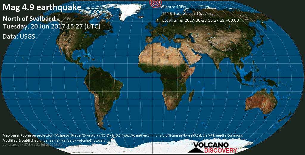 Light mag. 4.9 earthquake  - North of Svalbard on 2017-06-20 15:27:29 +00:00