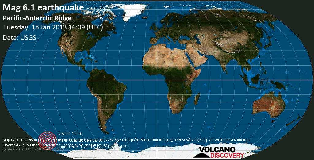 Strong mag. 6.1 earthquake  - Pacific-Antarctic Ridge on Tuesday, 15 January 2013
