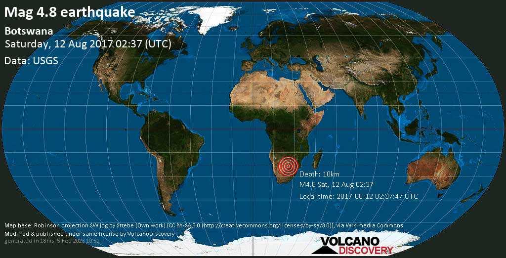 Terremoto moderado mag. 4.8 - 122 km N of Gaborone, Botswana, 2017-08-12 02:37:47 UTC