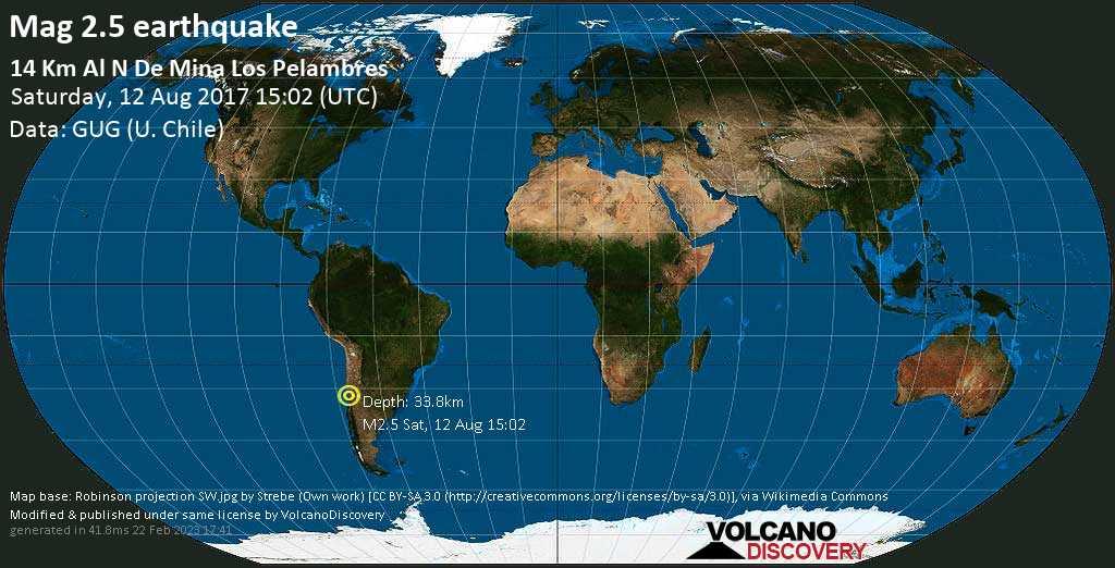 Sehr schwaches Beben Stärke 2.5 - 39 km östlich von Salamanca, Provincia de Choapa, Coquimbo Region, Chile, am Samstag, 12. Aug 2017 um 15:02 GMT