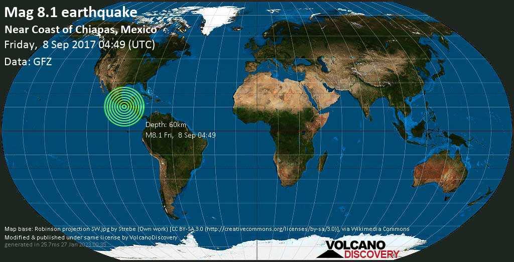 Terremoto maggiore magnitudine 8.1 - North Pacific Ocean, 88 km a sud ovest da Topon, Pijijiapan, Chiapas, Messico, venerdì, 08 settembre 2017