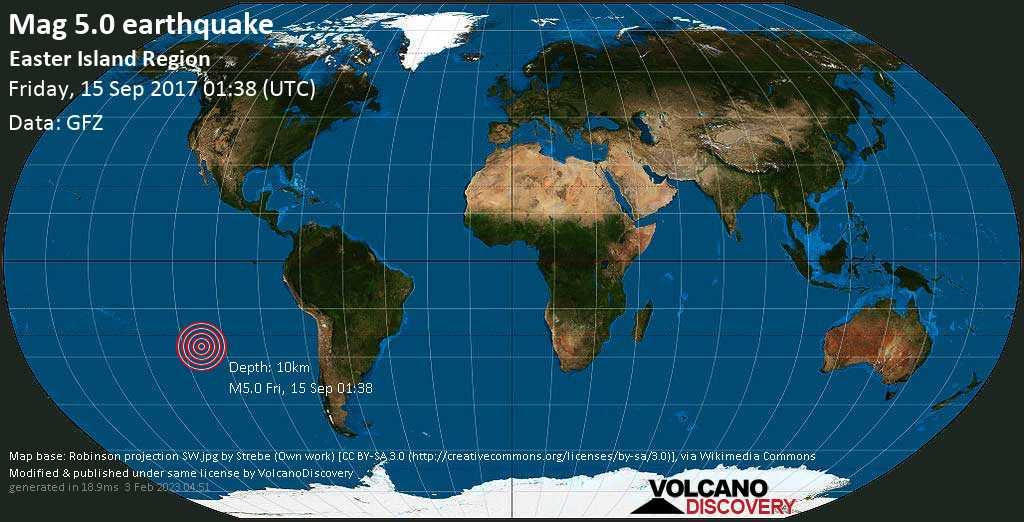 Moderate mag. 5.0 earthquake  - South Pacific Ocean, 320 km west of Hanga Roa, Provincia de Isla de Pascua, Region de Valparaiso, Chile, on Friday, 15 September 2017 at 01:38 (GMT)