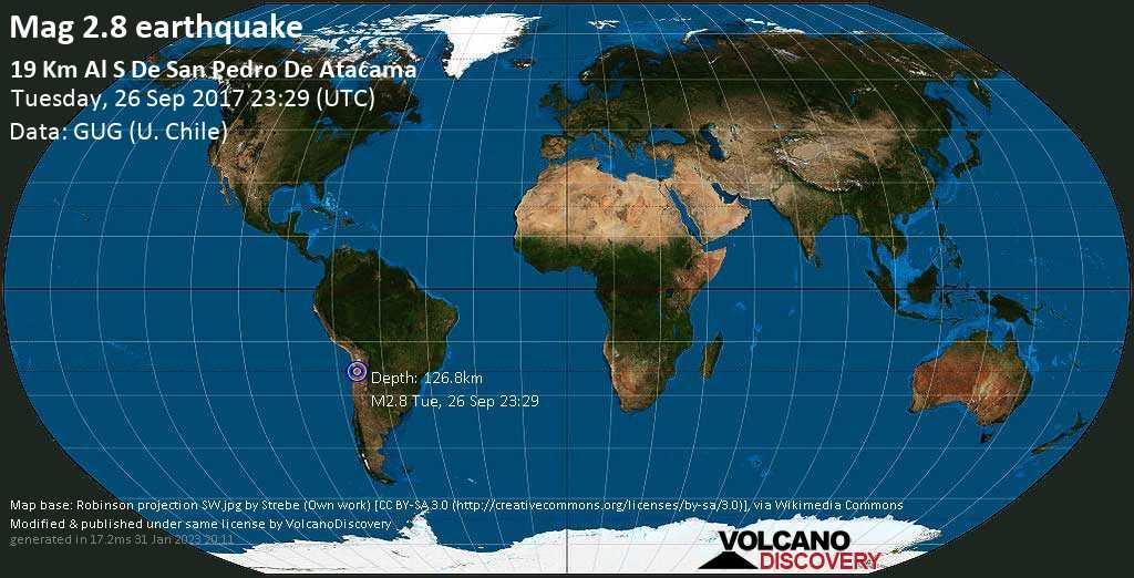 Debile terremoto magnitudine 2.8 - 20 km a sud da San Pedro de Atacama, Provincia de El Loa, Antofagasta, Cile, martedì, 26 settembre 2017