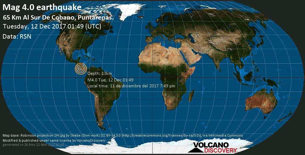 Moderate mag. 4.0 earthquake - North Pacific Ocean, 49 km south of Isla Cabo Blanco Island, Costa Rica, on 11 de diciembre del 2017 7:49 pm