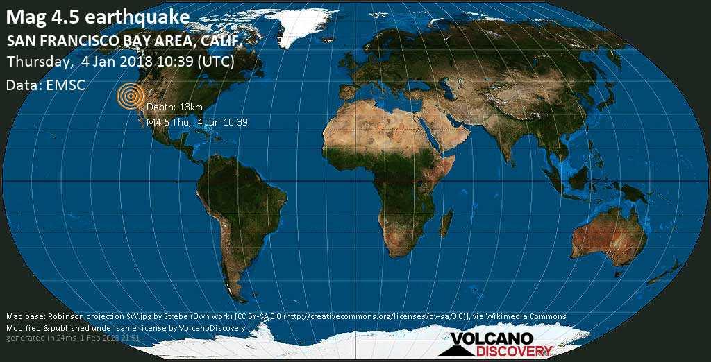 Moderate mag. 4.5 earthquake - 2 mi southeast of Berkeley, Alameda County, California, USA, on Thursday, 4 January 2018 at 10:39 (GMT)