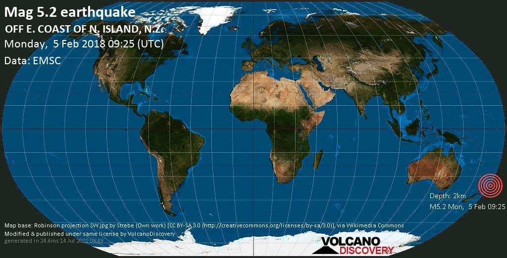 Strong mag. 5.2 earthquake - South Pacific Ocean, 392 km east of Auckland, New Zealand, on Monday, 5 February 2018 at 09:25 (GMT)