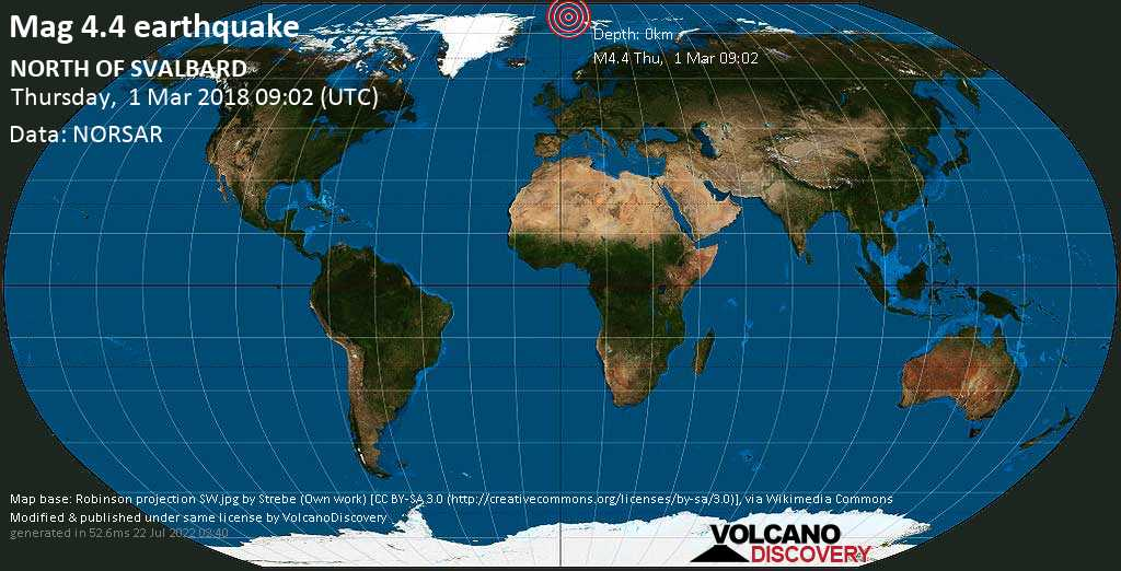 Mag. 4.4 earthquake  - NORTH OF SVALBARD on Thursday, 1 March 2018 at 09:02 (GMT)