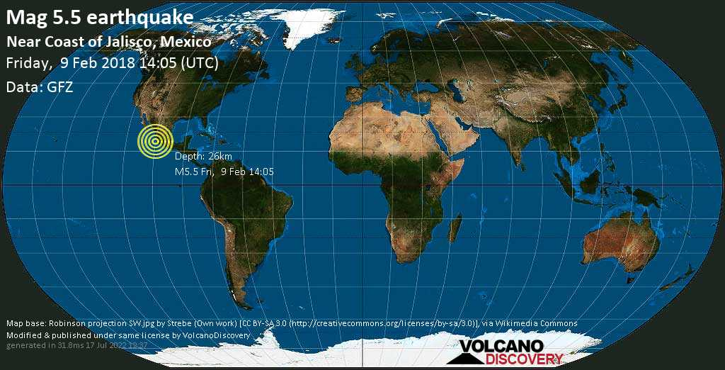 Moderate mag. 5.5 earthquake  - North Pacific Ocean, 24 km west of Manzanillo, Colima, Mexico, on Friday, 9 February 2018 at 14:05 (GMT)