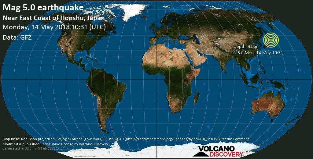 Moderate mag. 5.0 earthquake  - North Pacific Ocean, 95 km northeast of Yamada, Shimohei-gun, Iwate, Japan, on Monday, 14 May 2018 at 10:31 (GMT)