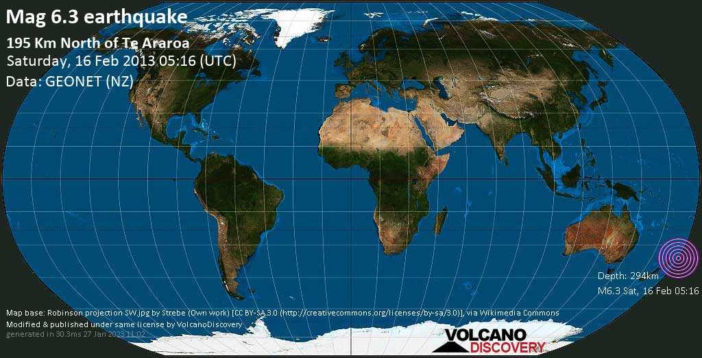 Strong mag. 6.3 earthquake  - 195 Km North of Te Araroa on Saturday, 16 February 2013