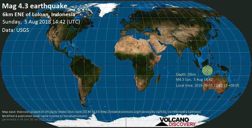 Mag. 4.3 earthquake  - - 6km ENE of Loloan, Indonesia, on 2018-08-05 22:42:19 +08:00