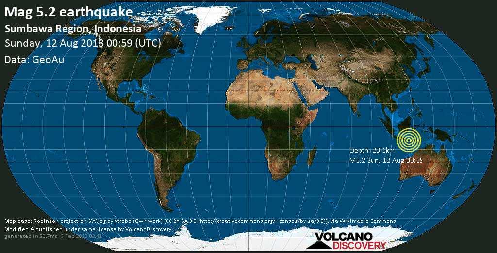 Moderate mag. 5.2 earthquake  - Sumbawa Region, Indonesia on Sunday, 12 August 2018