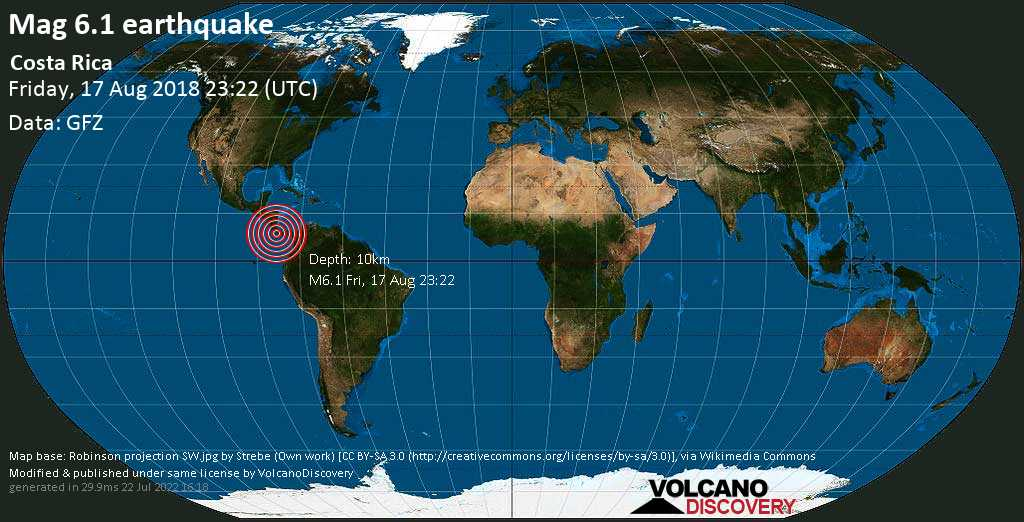 Very strong mag. 6.1 earthquake - 11 km northwest of Golfito, Provincia de Puntarenas, Costa Rica, on Friday, August 17, 2018 at 23:22 (GMT)