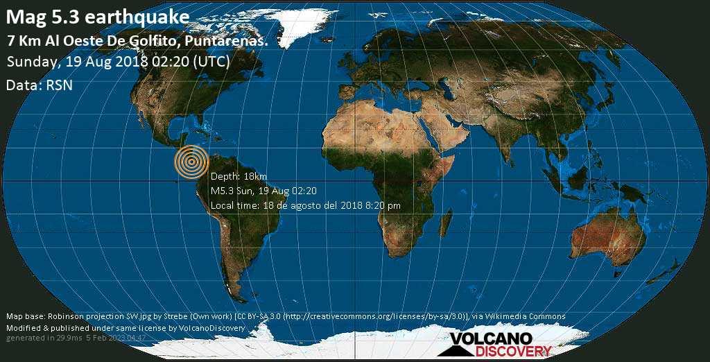 Strong mag. 5.3 earthquake - North Pacific Ocean, 11 km west of Golfito, Provincia de Puntarenas, Costa Rica, on 18 de agosto del 2018 8:20 pm