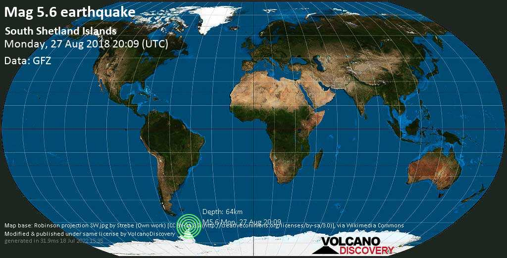 Moderate mag. 5.6 earthquake  - South Atlantic Ocean, Antarctica, on Monday, 27 August 2018 at 20:09 (GMT)
