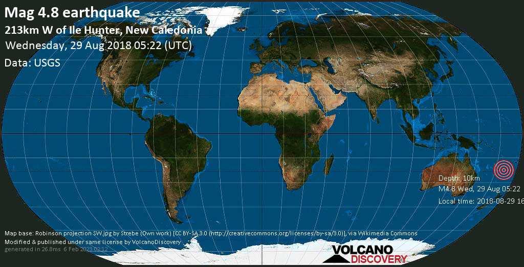 Light mag. 4.8 earthquake  - 213km W of Ile Hunter, New Caledonia on Wednesday, 29 August 2018
