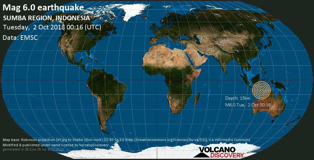 Strong mag. 6.0 earthquake  - Indonesian Ocean, 92 km south of Waingapu, East Nusa Tenggara, Indonesia, on Tuesday, 2 October 2018 at 00:16 (GMT)