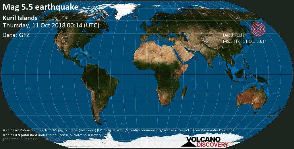 Moderate mag. 5.5 earthquake  - North Pacific Ocean, 450 km southwest of Petropavlovsk-Kamchatskiy, Kamchatka, Russia, on Thursday, 11 October 2018 at 00:14 (GMT)