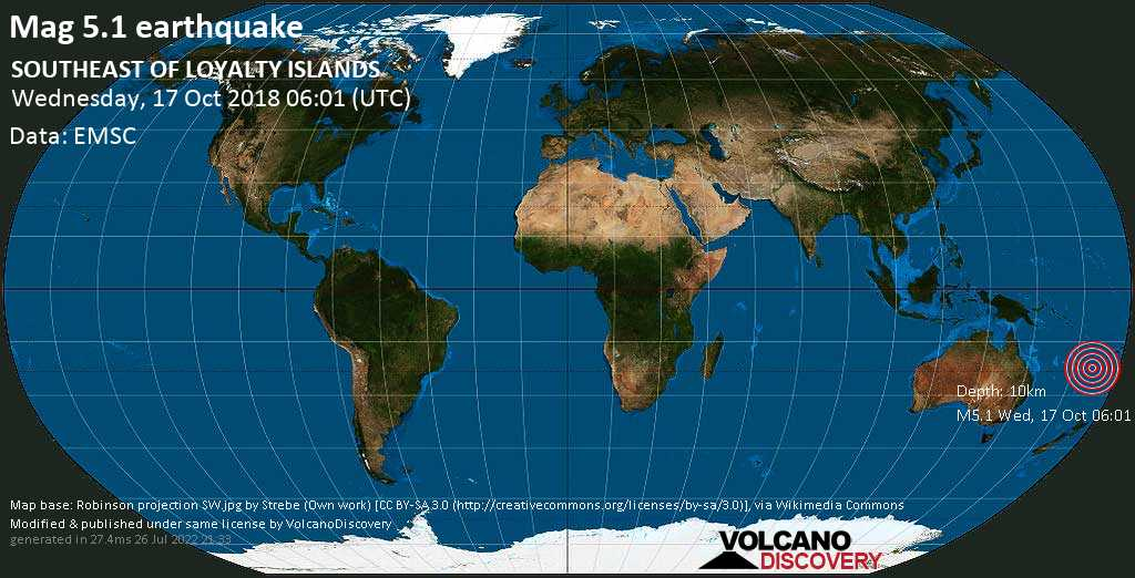 Moderate mag. 5.1 earthquake  - SOUTHEAST OF LOYALTY ISLANDS on Wednesday, 17 October 2018