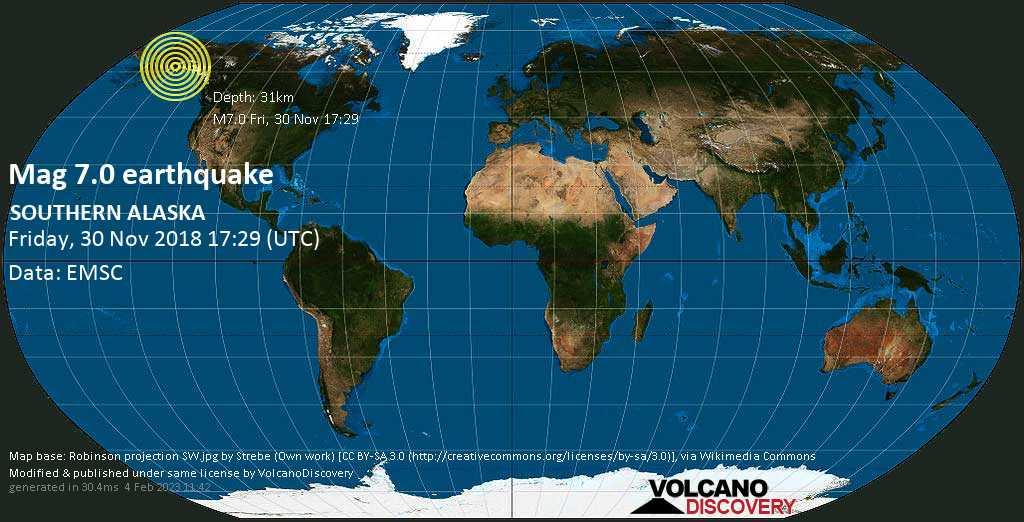 Major mag. 7.0 earthquake  - SOUTHERN ALASKA on Friday, 30 November 2018