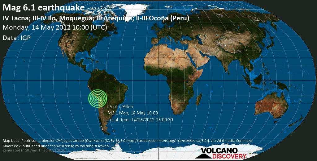 Strong mag. 6.1 earthquake - 21 km east of Tacna, Peru, on 14/05/2012 05:00:39