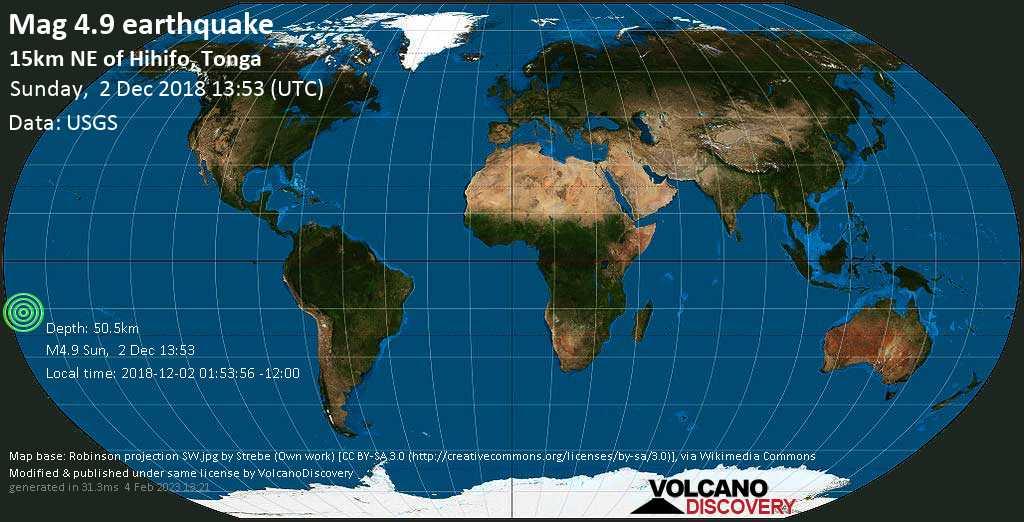 Mag. 4.9 earthquake  - - 15km NE of Hihifo, Tonga, on 2018-12-02 01:53:56 -12:00