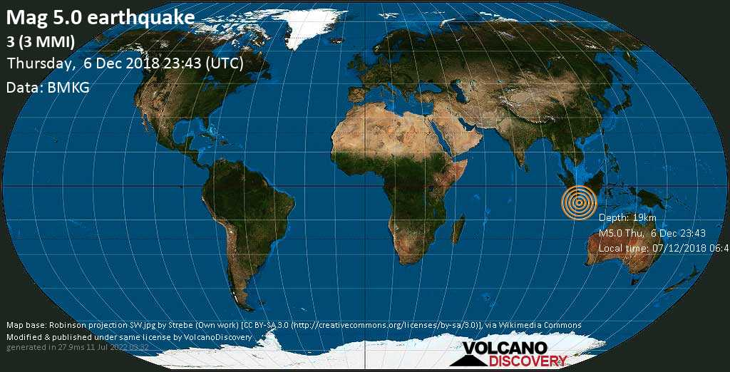 Moderate mag. 5.0 earthquake  - 3 (3 MMI) on Thursday, 6 December 2018