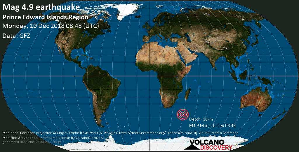 Light mag. 4.9 earthquake  - Prince Edward Islands Region on Monday, 10 December 2018