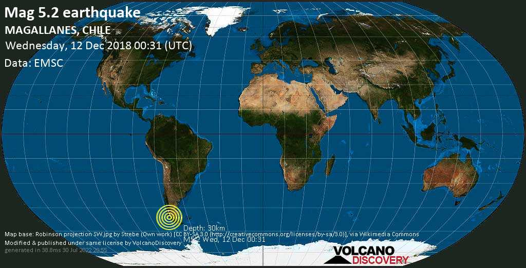 Moderate mag. 5.2 earthquake  - 166 km northwest of Puerto Natales, Provincia de Ultima Esperanza, Region of Magallanes, Chile, on Wednesday, 12 December 2018 at 00:31 (GMT)