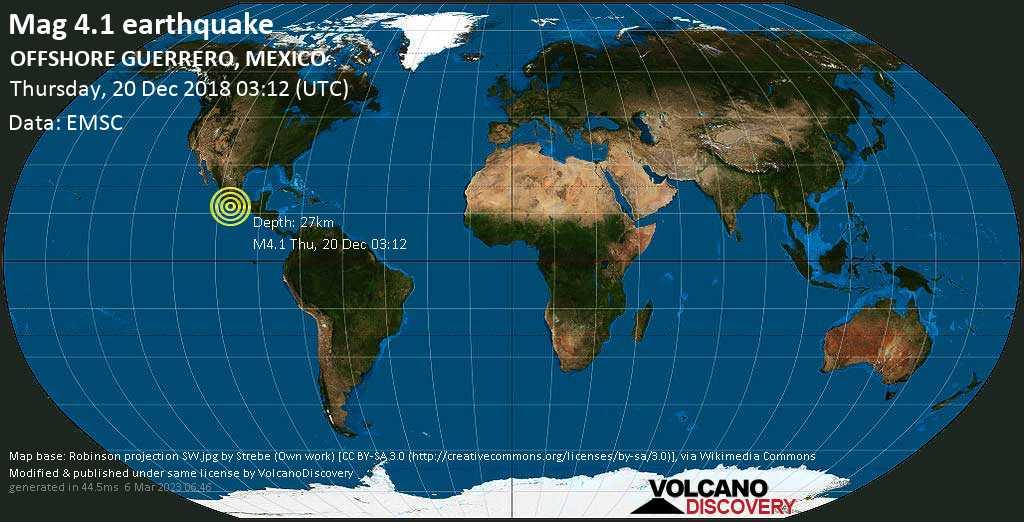 Mag. 4.1 earthquake  - North Pacific Ocean, 27 km south of Atoyac de Alvarez, Guerrero, Mexico, on Thursday, 20 December 2018 at 03:12 (GMT)