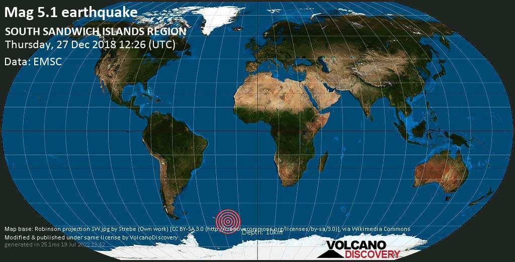Strong mag. 5.1 earthquake - South Atlantic Ocean, South Georgia & South Sandwich Islands, on Thursday, 27 December 2018 at 12:26 (GMT)