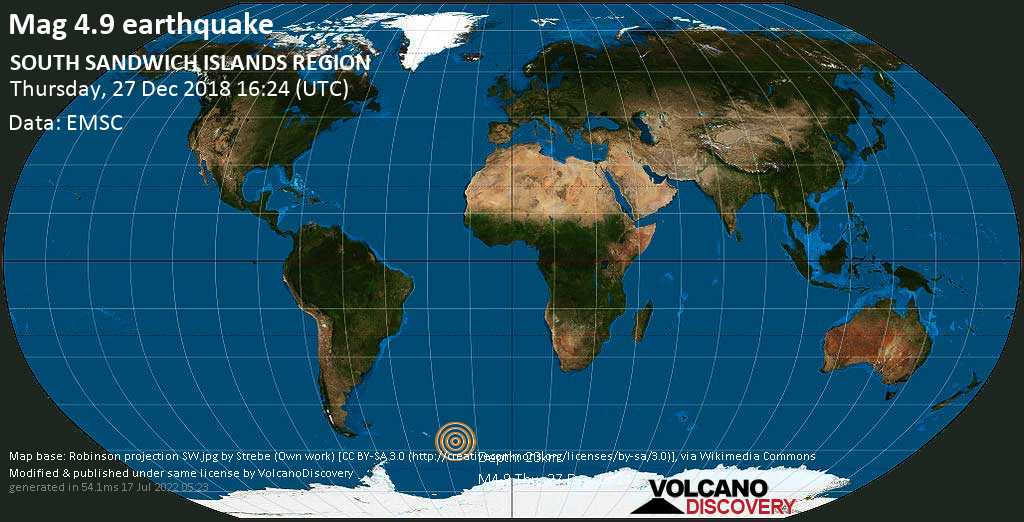 Moderate mag. 4.9 earthquake - South Atlantic Ocean, South Georgia & South Sandwich Islands, on Thursday, 27 December 2018 at 16:24 (GMT)