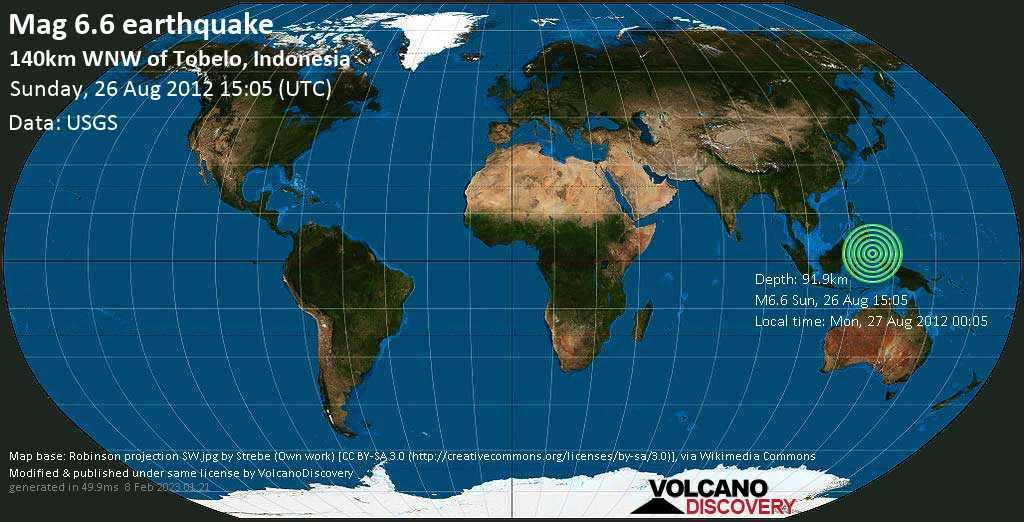 Starkes Magnitude 6.6 Erdbeben - Maluku Sea, 168 km nördlich von Ternate, Maluku Utara, Indonesien, am Sonntag, 26. Aug 2012 um 15:05 GMT