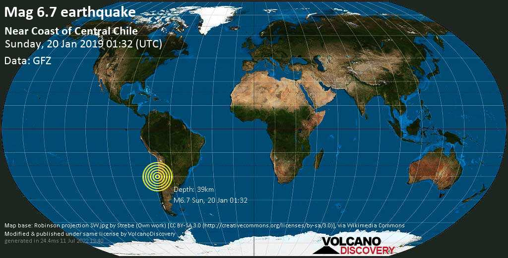 Strong mag. 6.7 earthquake  - Near Coast of Central Chile on Sunday, 20 January 2019 at 01:32 (GMT)