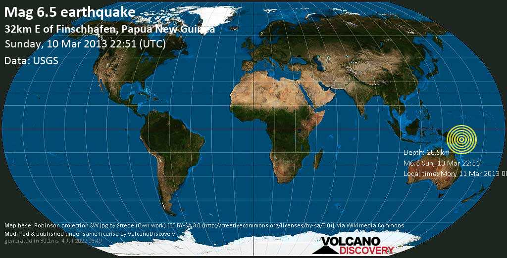 Strong mag. 6.5 earthquake  - 32km E of Finschhafen, Papua New Guinea on Sunday, 10 March 2013