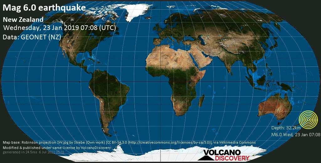 Strong mag. 6.0 earthquake - 12 km southwest of Ruatoria, Gisborne District, New Zealand, on Wednesday, January 23, 2019 at 07:08 (GMT)