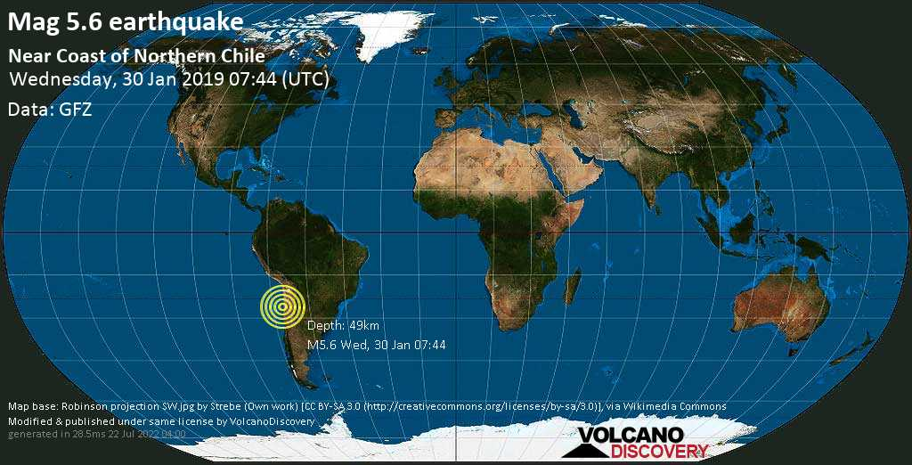 Moderate mag. 5.6 earthquake - Antofagasta Province, 66 km northwest of Diego de Almagro, Provincia de Chañaral, Atacama, Chile, on Wednesday, 30 January 2019 at 07:44 (GMT)